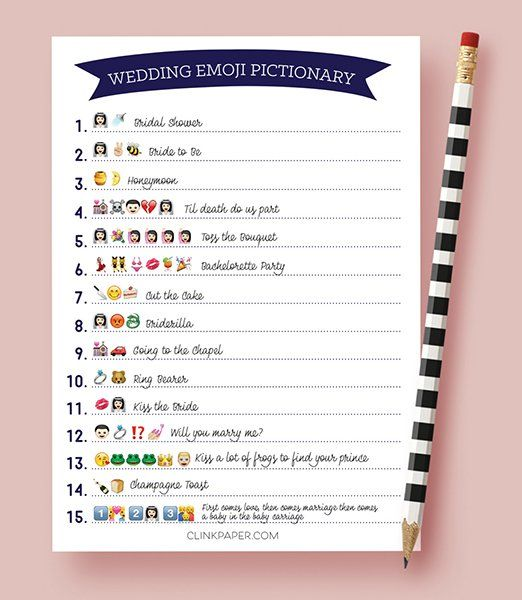 For a 2016 twist on traditional Pictionary, guests must correctly decipher the wedding words and phrases using emojis! Etsy seller Clink Paper offers a print-ready digital download that's set up to print two games per standard sheet (it also includes an answer key).