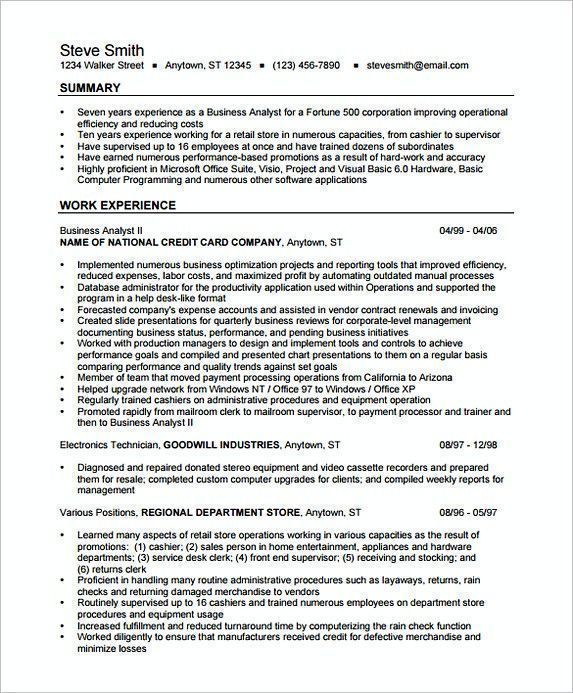 Business Analyst Resume Format Examples In