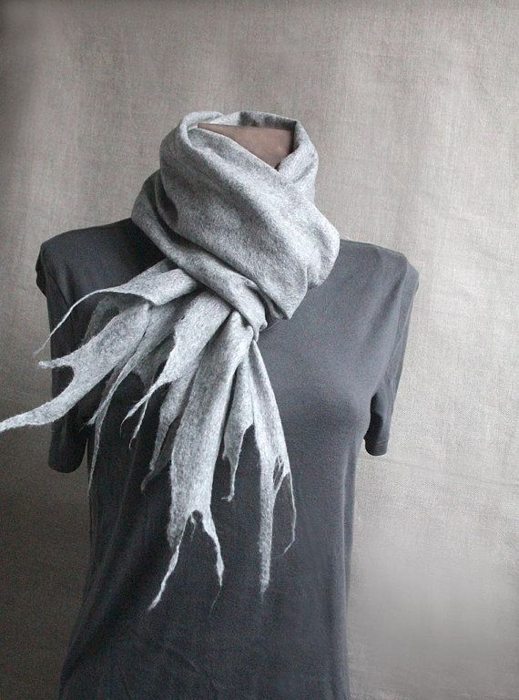 men wool felted  long slim scarf LIGHT GRAY 88' x 6 by manonknits, $72.00