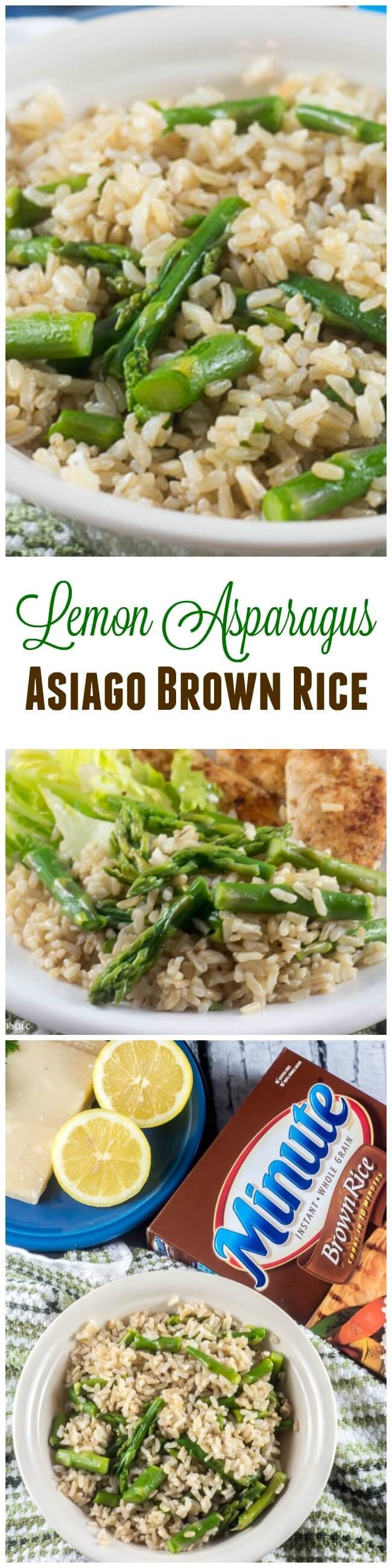 Lemon Asparagus Asiago Brown Rice glams up gluten free whole grain brown rice to make a delicious, elegant yet easy side dish for a quick weeknight meal or an impressive gourmet meal. AD #MealsWithMinute ~ http://FlavorMosaic.com