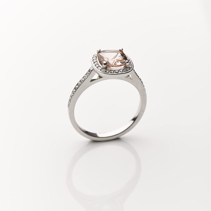 Side shot of our custom made #morganite and #diamond surrounds platinum #engagementring #southafricanjewellery