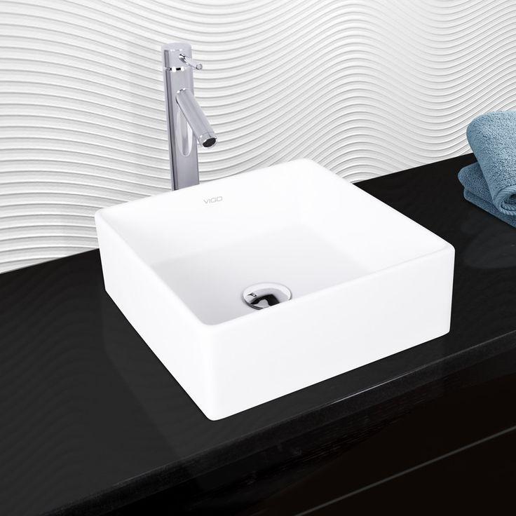 Vigo Bavaro Composite Vessel Sink and Dior Bathroom Vessel Faucet in Chrome (Grey)