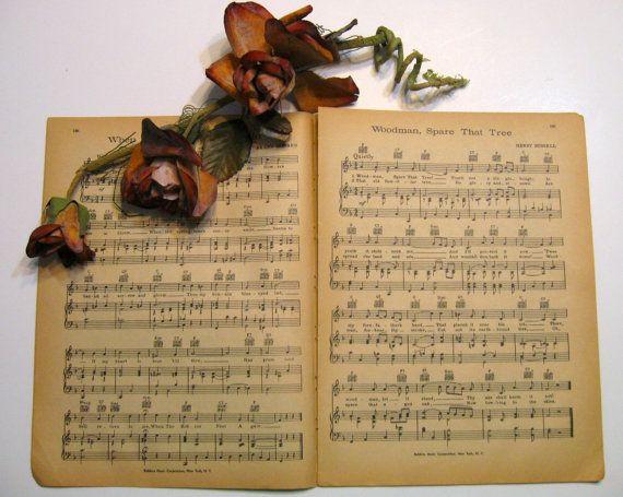 Vintage Sheet Music Paper  14 Sheets by NormaSuppliesandKits, $5.48