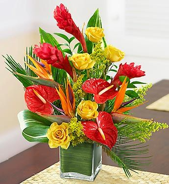 This truly original arrangement was Inspired by Dee, one of our expert floral designers. A lush gathering of roses, ginger, anthurium, Birds of Paradise, solidago, Ti leaf, palm leaf and myrtle, its a floral tropical breeze that creates smiles for any occasion.