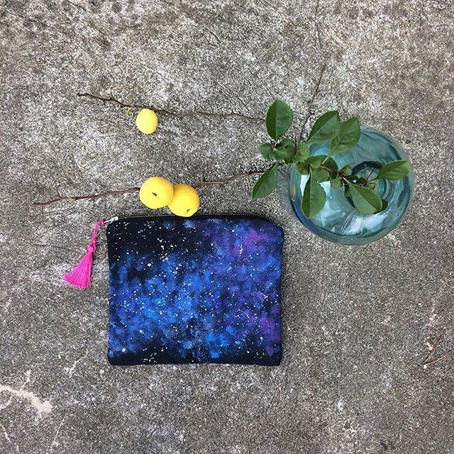 Hand-painted #pouch #galaxy #nightsky #pattern #handpainted #stars #bag #umination #space #cosmeticbag #handcrafted