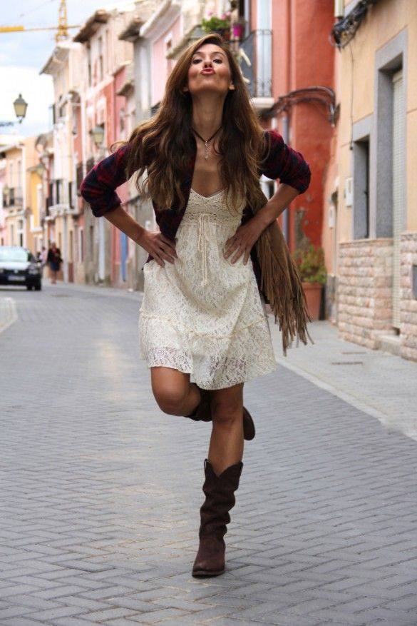 love it!  off-white dress, brown boots and jacket