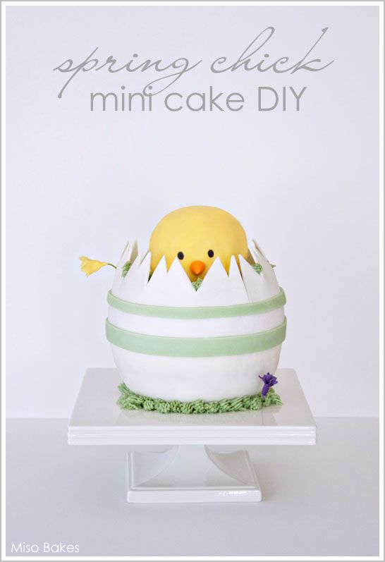 Super duper cute chick mini cake with DIY tutorial by Miso Bakes (posted on Half Baked cake blog)    Seems somewhat achievable for me...maybe I can make a guinea pig with bunny ears on it, to represent my little Wendy haha!