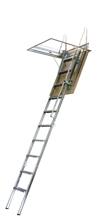 Escada de Sótão - Escada recolhível em 4 peças, pintada a branco (Interior)