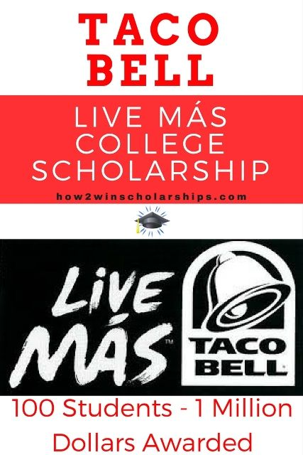 Taco Bell Live Más College Scholarship is an opportunity open to students 16-24 years old. There is no GPA, income, or essay required. Tips here!