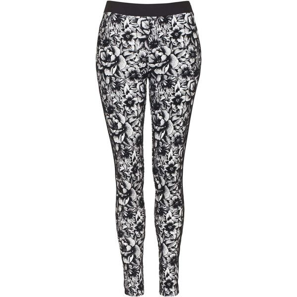 TOPSHOP Floral Print Treggings ($55) ❤ liked on Polyvore featuring pants, leggings, monochrome, baggy skinny pants, topshop, flower print leggings, side zip pants and floral print leggings