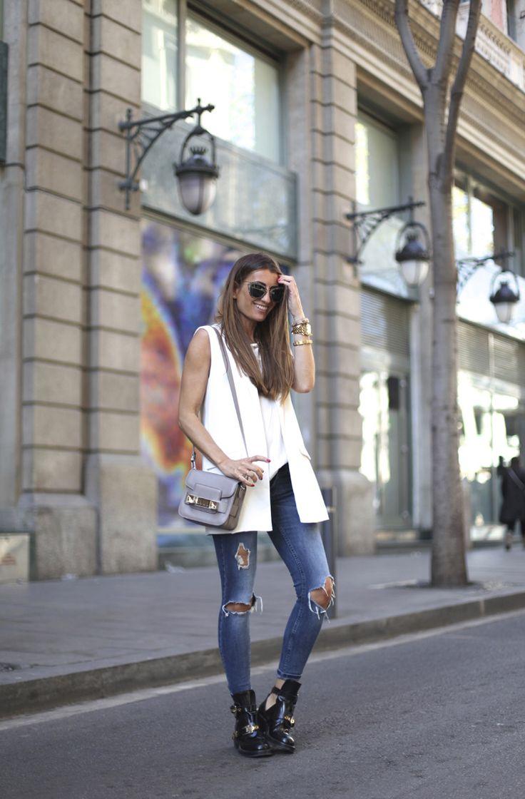 Sleeveless Blazer + Tee + Ripped Jeans + Balenciaga Boots