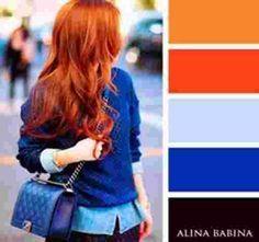 tenue bleu fille rousse