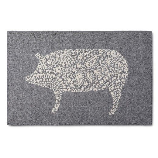Country meets chic with The Threshold Paisley Pig Kitchen Rug. The neutral colors will blend well with any decor while the Paisley Pig pattern becomes a focal point in your country chic kitchen.