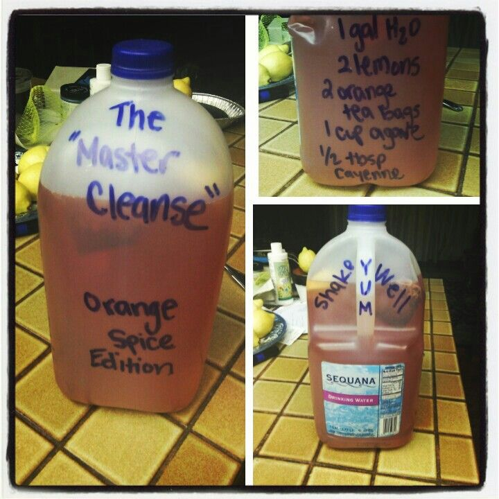 my very own cleanse recipe for 24 hour relief 1 gal water, 2 squeezed organic lemons, 2 decaf orange tea bags, 1cup agave nectar syrup, 1/2 tbsp cayenne pepper.  shake well and drink whenever you feel empty or hungry. gallon should last all day, but you can drink more as needed. cleanse can be done for up to 3 days.