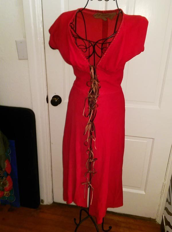 Vintage 70s does 40s Artisan Gypsy Cowgirl Red Suede Dress Lace-Up S