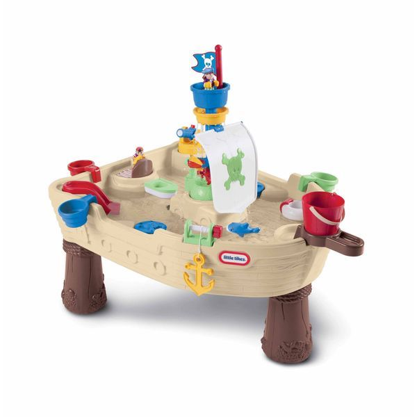 Add a little fun to your outdoors with this Anchors Away pirate ship water table. This water table features a ship motif and spinning parts so your kids are entertained for hours. It's the perfect way