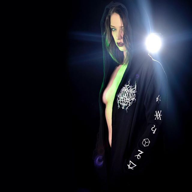 "CRMC X Vivid Black Artistry X View from the Coffin ""TEM.ple O.mnium H.ominum P.ads AB.ba"" Robe Available at www.crmcclothing.co | WE SHIP WORLDWIDE Model - Laura Marie Howard Photography - Darklens Studio #darkwear #hood #blackwear #hoodie #freemasonry #altfashion #alternative #fashionstatement #fashionista #winter #robe #winterfashion #styles #style #alternativeguy #alternativeboy #alternativegirl #alternativeteen #love #laurahoward"