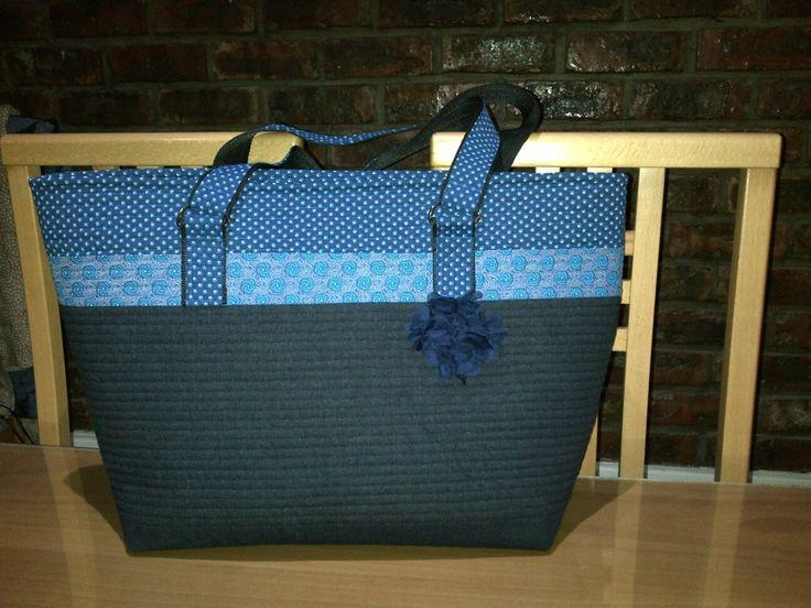 Handmade tote blue denim and shweshwe fabric with inset zipper