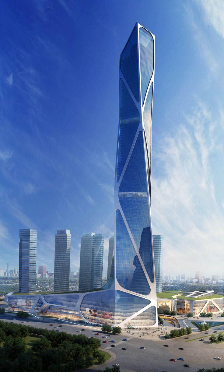 Jason Holtzman Design / Nanjing-South New City Southern Railway Station-2013-(450 meter tower option