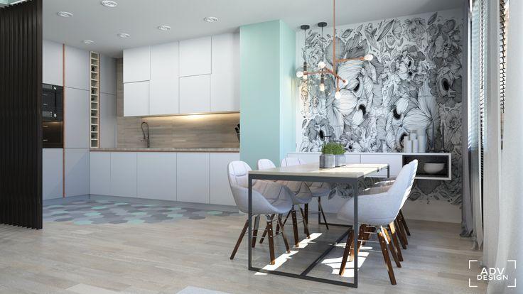 www.advdesign.pl 63m2_7 dining room kitchen wallpaper pendant lambert&fils hexagon