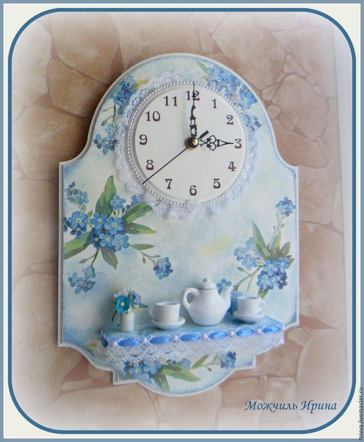 """Купить Часы с полочкой """"Незабудки"""" - голубой, светло-голубой, часы настенные, часы необычные"""
