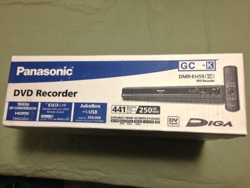 Panasonic DMREH59GCK 250GB HDD Multi Region DVD Recorder (Black) Multi Region DVD Recorder. 110-220V Panasonic DMR-EH59 250GB. Panasonic DMR-EH59 250GB.  #Panasonic #HomeTheater