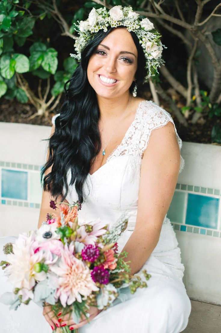 Flower Crown Wedding Hairstyles for Brides and Flower Girls | Photo by: Veronica…