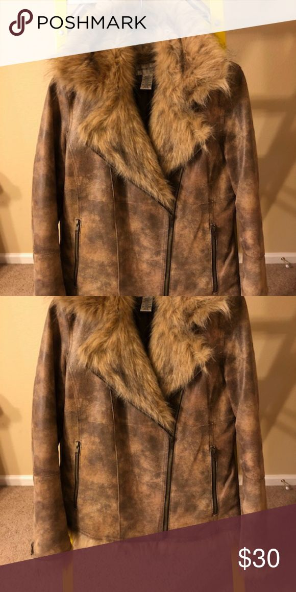 Brown Leather and Faux Fur Coat Fashionable and warm for Winter!  Newport News ~ Rustic leather with faux fur collar and sleeve trim.  Asymetrical zipper front.  Zipper sleeves. Fully lined.  Size 6. Newport News Jackets & Coats