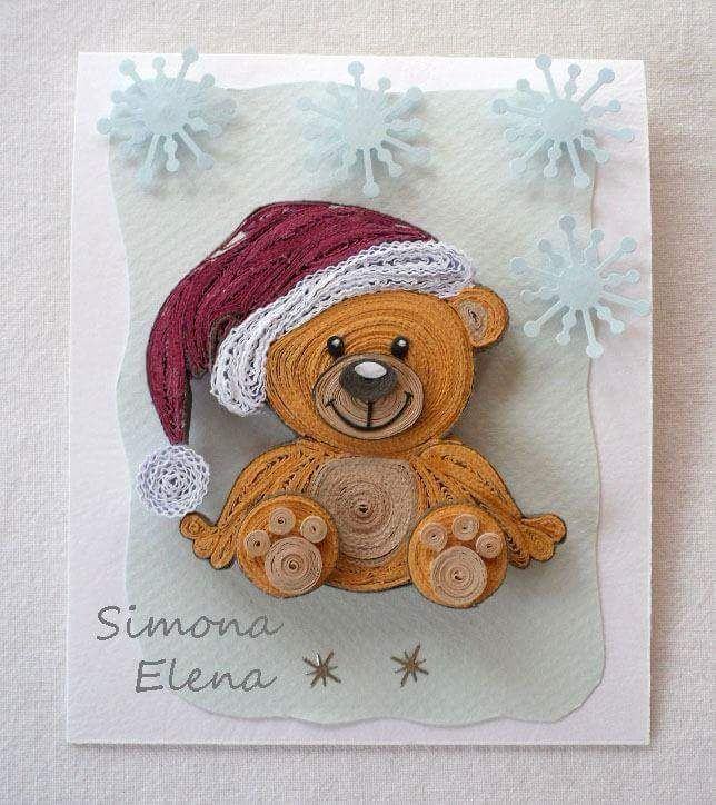 Quilled Christmas bear made by Simona Elena