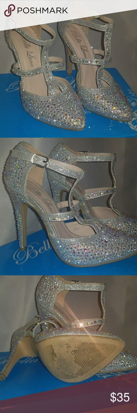 💎 Holographic Jeweled Heel Worn Once!! 💎 Silver shoe with holographic jewels all over! Only worn one time for a special occasion. Minor damage to the front of the right shoe. Bella Luna Shoes Heels