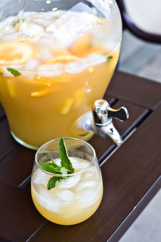 pineapple sangria Yield: 8 Servings    Ingredients:    3 cups pineapple juice  1 bottle dry white wine, such as Chardonnay or Sauvignon Blanc  1 cup brandy (pear brandy or apricot brandy will work)  1 ripe pineapple, cut into 1-inch chunks  1 cup pineapple soda  1 bunch fresh mint, roughly chopped