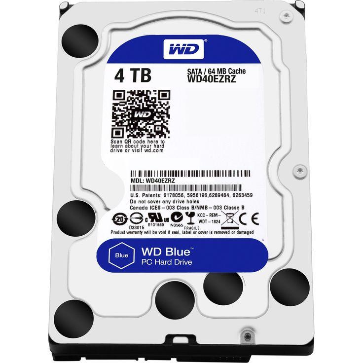 WD Blue 4 TB 3.5-inch SATA 6 Gb/s 5400 RPM PC Hard Drive - SATA - 5400rpm - 64 MB Buffer - Blue