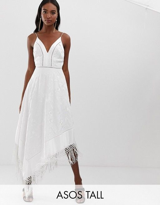 72826d4cff35 ASOS DESIGN Tall cami midi dress in embroidered floral and fringe hem | ASOS