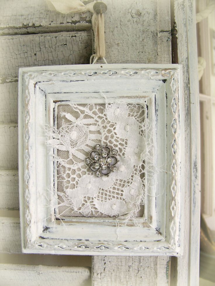 Shabby White Lace Collage Vintage Rhinestone Wall Art by QueenBe, $16.00