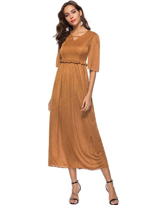ef7bfc9bfbba Ericdress V-Neck Half Sleeve Stringy Selvedge Plain Summer Dress ...