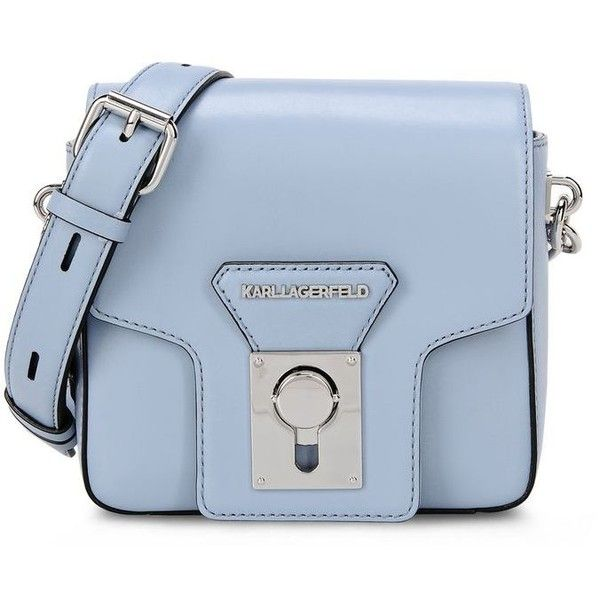 Karl Lagerfeld K/Pin Closure Crossbody (£150) ❤ liked on Polyvore featuring bags, handbags, shoulder bags, purses, light steel blue, leather crossbody handbags, leather man bags, purse crossbody, cross-body handbag and leather cross body purse