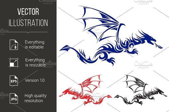 Asian tattoo dragon. by DvargShop on @creativemarket