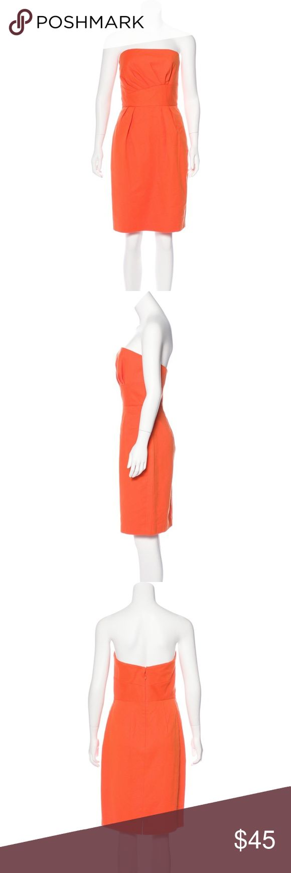 "Kay Unger Strapless Orange Mini Dress Size 8 Kay Unger Orange Strapless Mini Dress Brand new with tags! Retail $290  - Asymmetrical Square Neck - Pleated accents at bodice - Dual seam pockets at hip - Textured Pattern - Concealed zip closure at center back - Purchased at Neiman Marcus - Size: 8  Measurements approximate Bust: 32"" Waist: 26"" Hip: 40"" Length: 32"" Kay Unger Dresses Strapless"