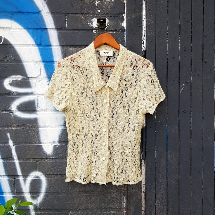 Lace shirt  button up cream top Short Sleeved Victorian Steampunk Blouse  80s clothing Size S to M - #button #cream #shirt #short #sleeved
