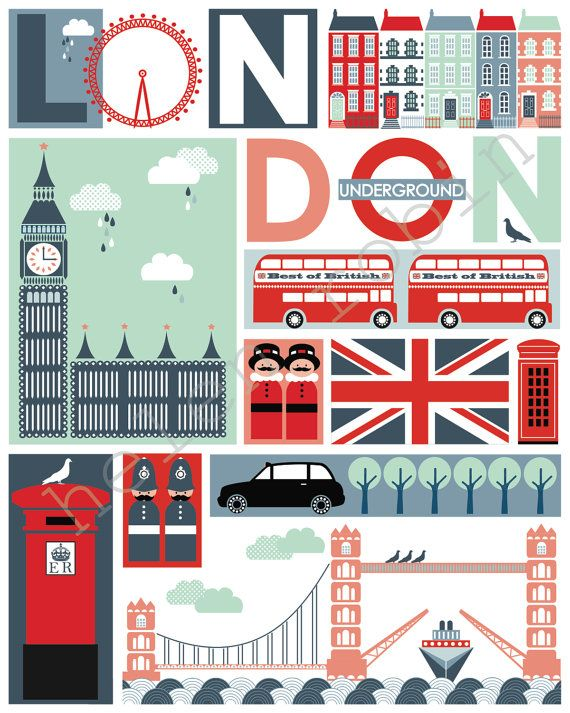 Quirky London Illustrative Print 8x10 Poster by helenrobin on Etsy, $20.00