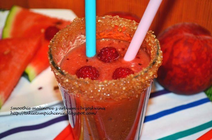Smak, zapach, kolor, tradycja z nutką nowoczesności...: Smoothie malinowe z arbuzem i brzoskwinią - bardzo...