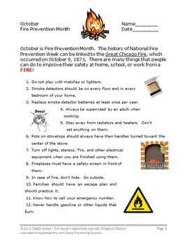 Fire Safety Activities With Rules Reading Comprehension