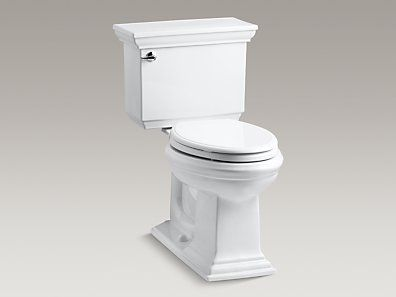 KOHLER | K-3817-0 | Memoirs® Stately Comfort Height® two-piece elongated 1.28 gpf toilet with AquaPiston® flush technology and left-hand trip lever