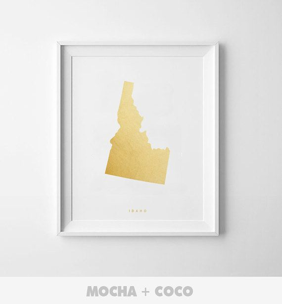Idaho Gold Map Print Us State America Map Poster by MochaAndCoco
