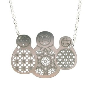 Babushka Necklace, I like this cluster, could try metal chain embroidered fabric dolls?