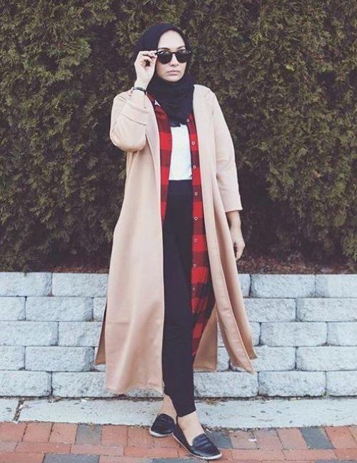long jacket hijab street style