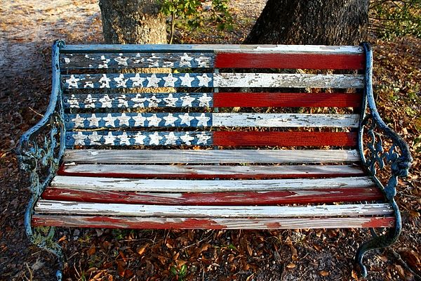 """""""Stars And Stripes"""" is a copyright photograph if an old bench found next to an old cemetary in south Georgia by Southern Photo"""