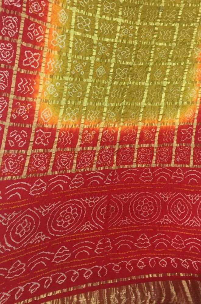 a77c0c40c5 Buy online Green And Red Bandhani Gharchola Pure Silk Checks Saree ...