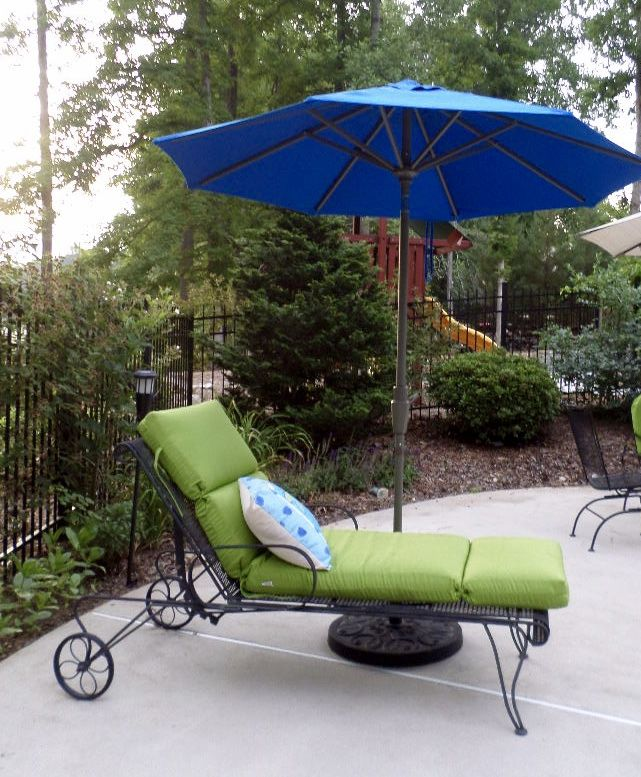 An Outdoor Chaise Lounge To Relax And A Patio Umbrella For Shade   The  Ultimate In