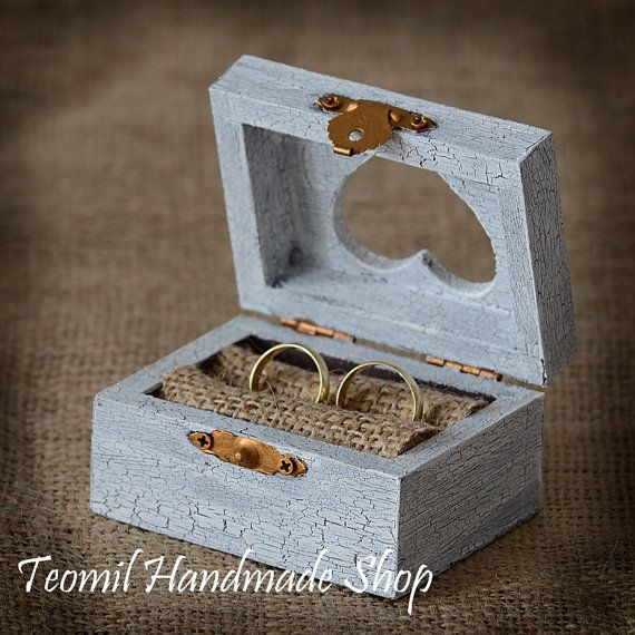 Rustic Wooden Wedding Ring Box, Ring Bearer , Vintage style on Etsy, $25.00